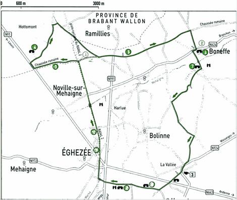 Balade à vélo autour d'Eghezée sur la chaussée romaine