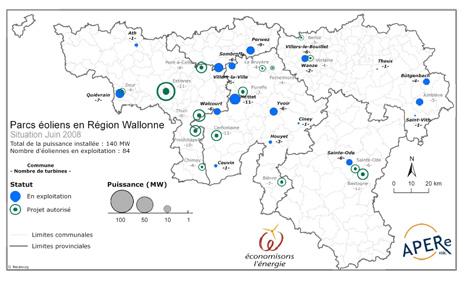 Carte des parcs et projets éoliens de Wallonie (Juin 2008)