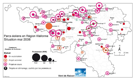 Carte des projets oliens en Wallonie (Mai 2008)
