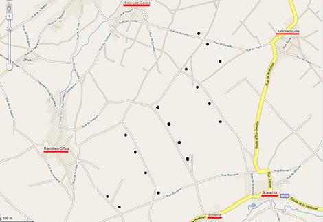 Carte d'implantation des éoliennes de Boneffe