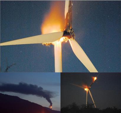 Une éolienne en feu sur le plateau du Coiron à FREYSSENET - Accident éolienne