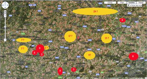 Carte des projets éoliens en production ou à l'étude entre la E40 et E411 dans la plaine de Hesbaye