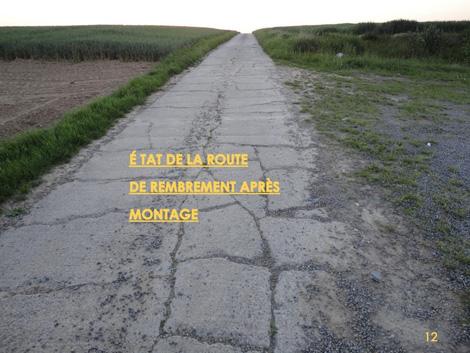 Eoliennes à Perwez: le charroi à defoncer les chemins de remembrements