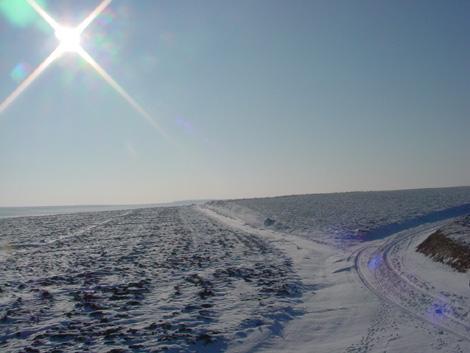 La plaine de Boneffe sous - 10° ce 10 janvier 2009 et sous soleil radieux