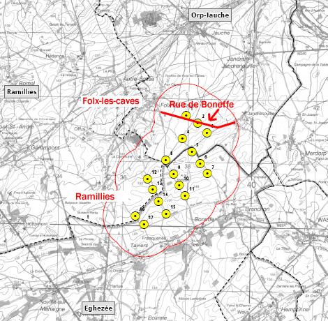 Plan d implantation des 17 éoliennes de la plaine de Boneffe