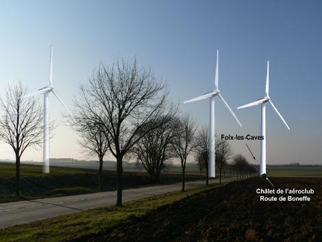 Photomontage: les 3 éoliennes à la sortie de Jandrenouille en direction de Folx-les-caves