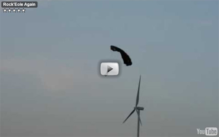 Base jump depuis des éoliennes en Belgique