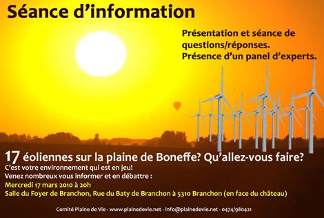 Eoliennes de la Plaine de Boneffe - Séance d'information du 17 Mars 2010 à Branchon