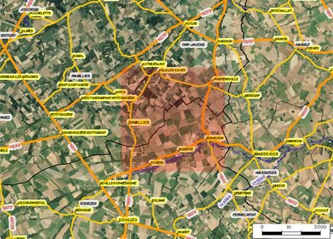 Carte des alentours de la plaine de Boneffe