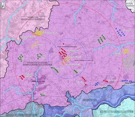 Carte des éoliennes en production et en activités autour d'Eghezée