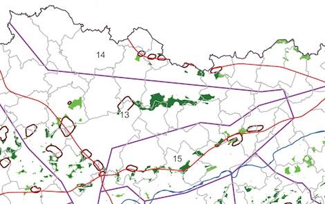 Carte du cadre éolien wallon - zone de Boneffe