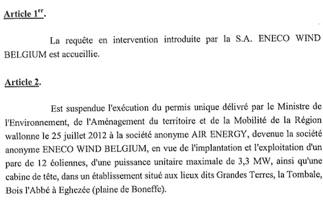 Rapport Conseil Etat Eoliennes de Boneffe 2013