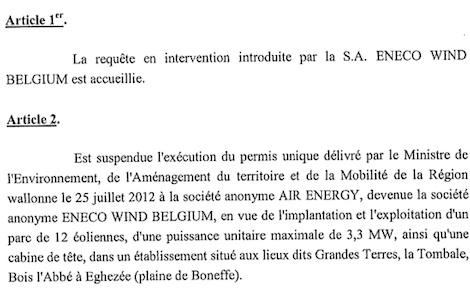 Rapport Conseil Etat Eoliennes de Boneffe 2013