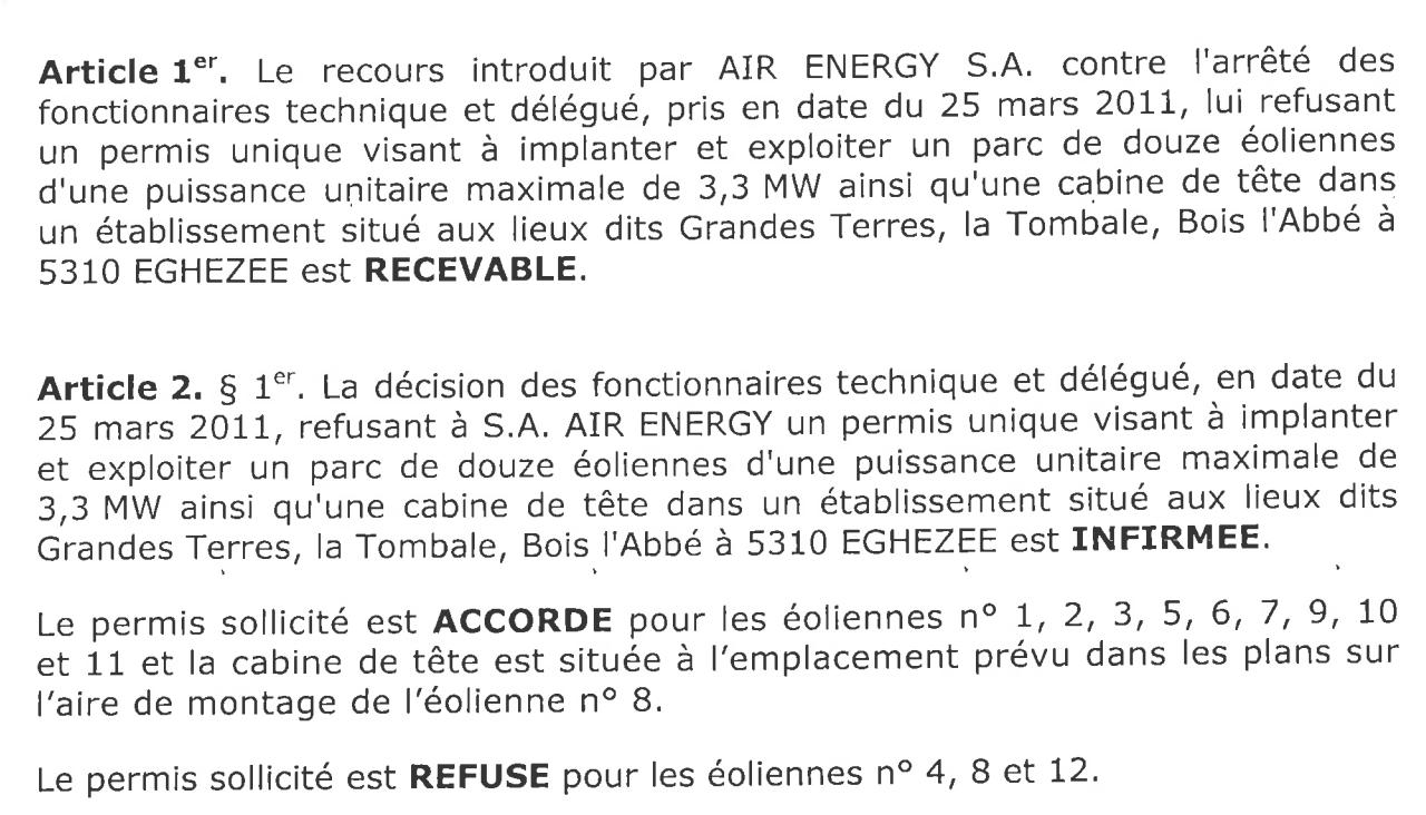 Arreté Region Wallonne 12 Nov 2015 - Eoliennes de Boneffe
