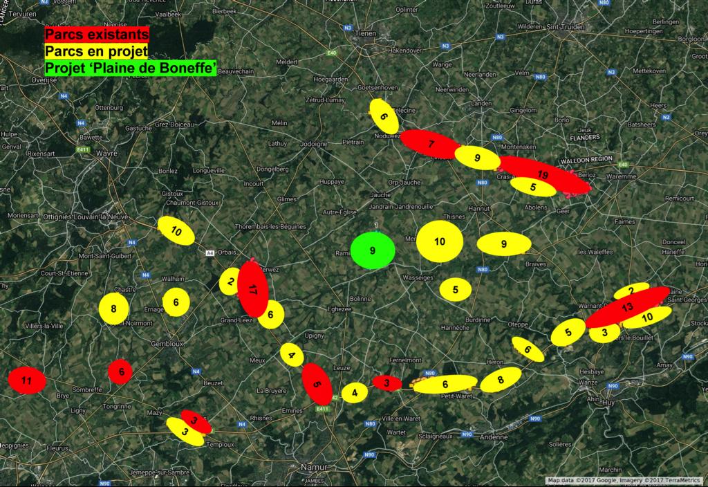 Carte des parcs éoliens de Hesbaye (Wallonie, Belgique, Juillet 2017)