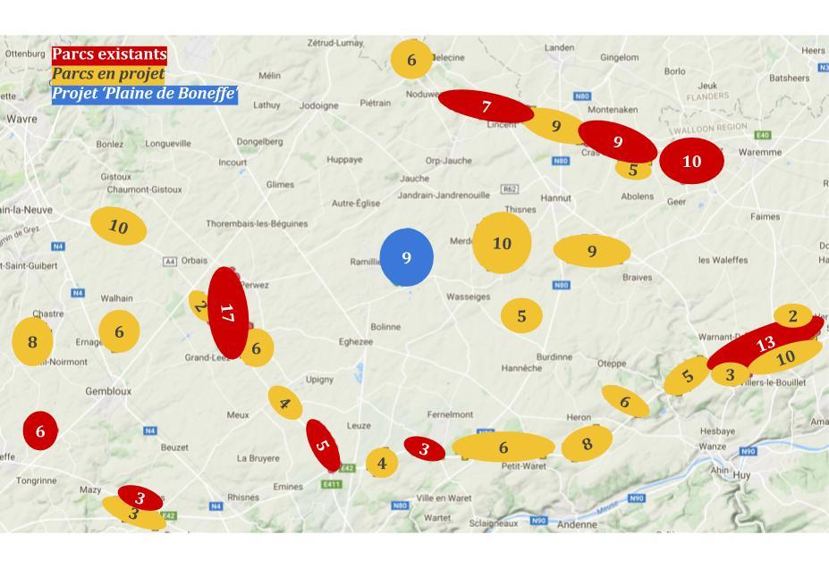 Plaine de Vie met en carte la progression des parcs éoliens en Hesbaye