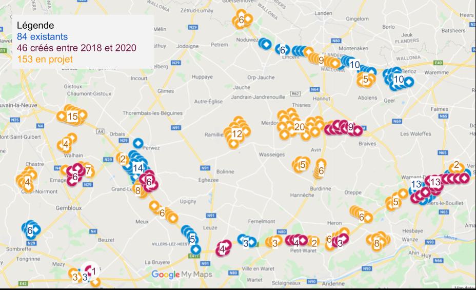 Cartographie des parcs éoliens en Hesbaye autour de la Plaine de Boneffe (Juin 2020)